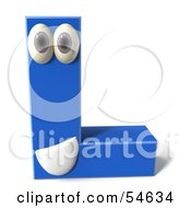 3d Blue Letter L With Eyes And A Mouth by Julos