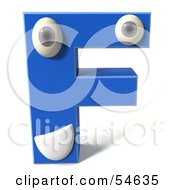 3d Blue Letter F With Eyes And A Mouth by Julos