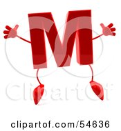 3d Red Letter M With Arms And Legs