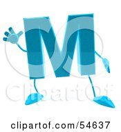 3d Blue Letter M With Arms And Legs
