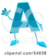 Royalty Free RF Clipart Illustration Of A 3d Blue Letter A With Arms And Legs