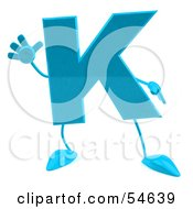 Royalty Free RF Clipart Illustration Of A 3d Blue Letter K With Arms And Legs