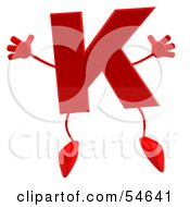 3d Red Letter K With Arms And Legs