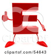 3d Red Letter E With Arms And Legs Giving The Thumbs Up