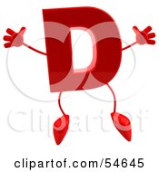 3d Red Letter D With Arms And Legs