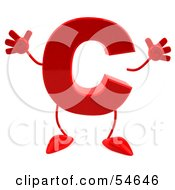 3d Red Letter C With Arms And Legs