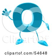 3d Blue Letter O With Arms And Legs