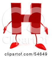 Royalty Free RF Clipart Illustration Of A 3d Red Letter H With Arms And Legs