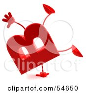Royalty Free RF Clipart Illustration Of A 3d Red Letter B With Arms And Legs Doing A Cartwheel