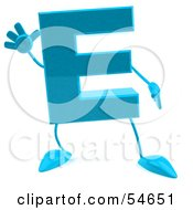 Royalty Free RF Clipart Illustration Of A 3d Blue Letter E With Arms And Legs