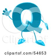 Royalty Free RF Clipart Illustration Of A 3d Blue Letter Q With Arms And Legs