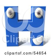 3d Blue Letter H With Eyes And A Mouth by Julos