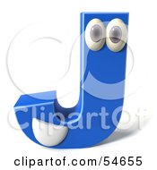 3d Blue Letter J With Eyes And A Mouth by Julos