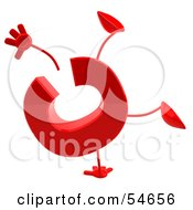 Royalty Free RF Clipart Illustration Of A 3d Red Letter C With Arms And Legs Doing A Cartwheel
