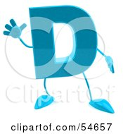 Royalty Free RF Clipart Illustration Of A 3d Blue Letter D With Arms And Legs