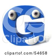 3d Blue Letter G With Eyes And A Mouth by Julos