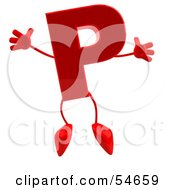 Royalty Free RF Clipart Illustration Of A 3d Red Letter P With Arms And Legs
