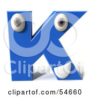 3d Blue Letter K With Eyes And A Mouth by Julos