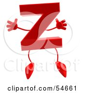 Royalty Free RF Clipart Illustration Of A 3d Red Letter Z With Arms And Legs