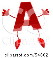 Royalty Free RF Clipart Illustration Of A 3d Red Letter A With Arms And Legs