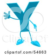 Royalty Free RF Clipart Illustration Of A 3d Blue Letter Y With Arms And Legs