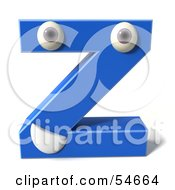 3d Blue Letter Z With Eyes And A Mouth by Julos
