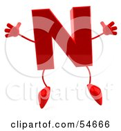 Royalty Free RF Clipart Illustration Of A 3d Red Letter N With Arms And Legs