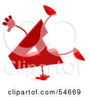 Royalty Free RF Clipart Illustration Of A 3d Red Letter A With Arms And Legs Doing A Cartwheel