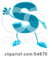 Royalty Free RF Clipart Illustration Of A 3d Blue Letter S With Arms And Legs