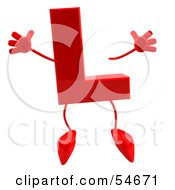 Royalty Free RF Clipart Illustration Of A 3d Red Letter L With Arms And Legs