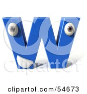 3d Blue Letter W With Eyes And A Mouth by Julos