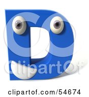 3d Blue Letter D With Eyes And A Mouth by Julos