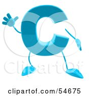 Royalty Free RF Clipart Illustration Of A 3d Blue Letter C With Arms And Legs