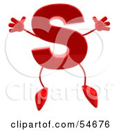 Royalty Free RF Clipart Illustration Of A 3d Red Letter S With Arms And Legs