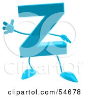 Royalty Free RF Clipart Illustration Of A 3d Blue Letter Z With Arms And Legs