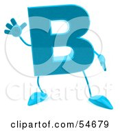 3d Blue Letter B With Arms And Legs