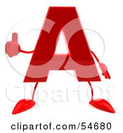 3d Red Letter A With Arms And Legs Giving The Thumbs Up