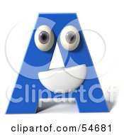 Royalty Free RF Clipart Illustration Of A 3d Blue Letter A With Eyes And A Mouth by Julos