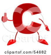 Royalty Free RF Clipart Illustration Of A 3d Red Letter C With Arms And Legs Giving The Thumbs Up