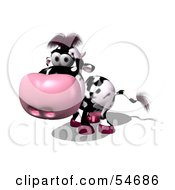 Royalty Free RF Clipart Illustration Of A 3d Dairy Cow Character Walking