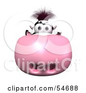 Royalty Free RF Clipart Illustration Of A 3d Dairy Cow Character With Its Pink Nose Facing The Viewer Version 1