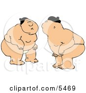 Two Japanese Sumo Fighters Facing Each Other In A Circular Ring Clipart Illustration