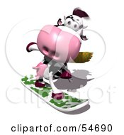 Royalty Free RF Clipart Illustration Of A 3d Dairy Cow Character Snowboarding Version 1