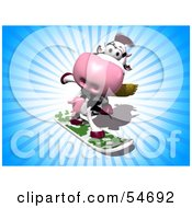 Royalty Free RF Clipart Illustration Of A 3d Dairy Cow Character Snowboarding Version 2