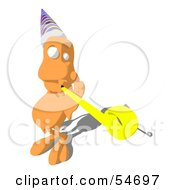 Royalty Free RF Clipart Illustration Of An Orange Monster Character Playing With A Party Blower