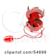 Royalty Free RF Clipart Illustration Of A 3d Devil Dollar Symbol With Horns And A Computer Mouse Version 3