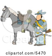 Armed Union Soldier Standing Beside His Horse On A Battlefield