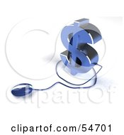 Royalty Free RF Clipart Illustration Of A Blue 3d Dollar Symbol With A Computer Mouse Version 6