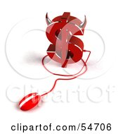 Royalty Free RF Clipart Illustration Of A 3d Devil Dollar Symbol With Horns And A Computer Mouse Version 1