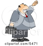 Smiling Businessman Waving Hello Or Goodbye Clipart Illustration by djart